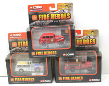 3 pc 2002 Corgi Fire Heroes Die Cast Metal Chevy Fire Chief Mack Pumper Rescue++
