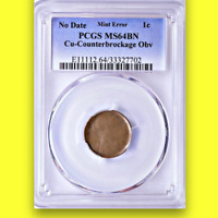 1959-82 PCGS MS64 Counterbrockage Obverse VERY RARE Error Type!! Lincoln Cent 1C