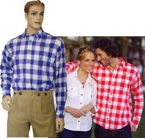 Trachtenhemd Hemd leicht gecrasht  blau/weiß kariert OS-TRACHTEN Oktoberfest   S