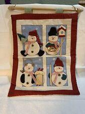 "Snowman Wallhanging 16"" X 12"" Fabric Winter Christmas"