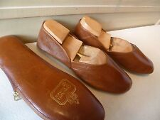 Crockett & Jones zip case slipper UK 7 41 mens vtg brown travel slip on