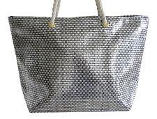 Lorenz grande Metálico efecto tejido oro plata vacaciones bolso de playa gris piedra