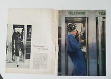 1957 womens blue Lilli Ann coat Emme hat beret Sunny Garnett  telephone booth ad