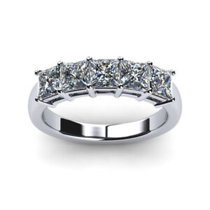1.00 Carat Princess Diamond Engagement Bands Solid Platinum Rings Size 5.5 6 7 8