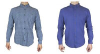 Mens Slim Fit Office Checkered Casual Long Sleeve Collared Check Blue Navy Shirt