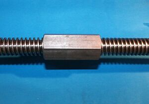 "3/4-6 acme coupling nuts steel 1"" hex x 2.25 long right hand"