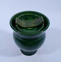 Künstler Keramik Vase Gefäss grün signiert um 1970 Art Pottery H 18 cm