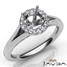 Semi Mount Round Diamond Engagement 18k White Gold Halo Pave Setting Ring 0.2Ct