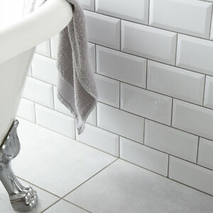SAMPLE £12.89/m2 Brick White Ceramic Satin or High Gloss 10x20Wall Metro Tile