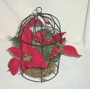 """9"""" Metal Wire Bird Cage Christmas Foliage Holly Berry Red Poinsettia Centerpiece"""