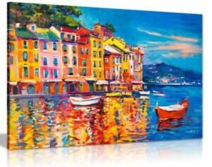 Colourful Oil Painting Boats Sea Harbour Canvas Wall Art Picture Print