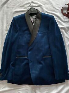 NEW M&S Marks & Spencer Teal Blue Velvet Tuxedo Dinner Jacket 48R Tux BNWOT