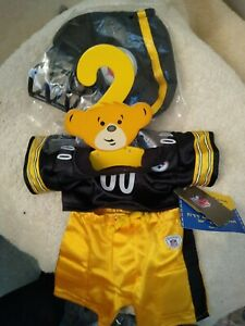 Build a Bear Steelers Outfit NFL Football Helmet Shoes Kids Pittsburgh Gold nwt