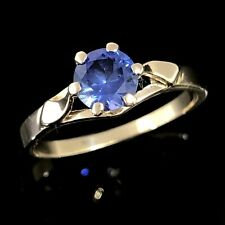 VINTAGE BEAUTY Solid 9K 375 Yellow Gold Claw Set Cornflower Blue Sapphire Ring