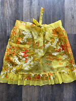 Vintage Retro Half Apron Thin Light Yellow Floral Flowers With Pocket