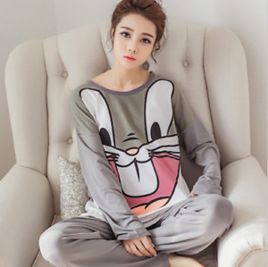 Ladies Pajamas Set Fashion Printed Long Sleeve Breathable Fabric Pajamas