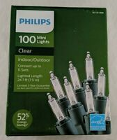 Philips 100ct Christmas Incandescent Mini String Lights Clear 24.7 ft Green Wire