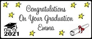 Graduation Prom End of School Personalised Landscape Party Banner - Any Message