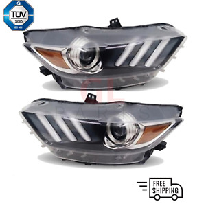Scheinwerfer Euro 2x fur Ford Mustang 2015 -2017 LED HID XENON lamp TÜV Tauglich