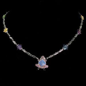 Round London Blue Topaz 2.5mm Amethyst Fancy Cz 925 Silver Frog Necklace 18.5ins