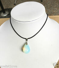 Opalite Opal Crystal Quartz Genuine Leather Necklace Teardrop Pendant 45CM good