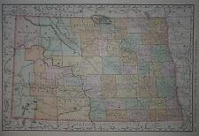 Vintage 1898 NORTH DAKOTA Map ~ Old Antique Original Atlas Map