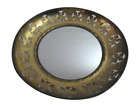 """Vintage Solid Brass Hanging Wall Mirror Made In England Pierced 8.25""""  Frame"""