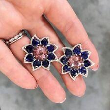 6Ct Pear Blue Sapphire Rhodolite Synt Diamond Stud Earrings White Gold FN Silver