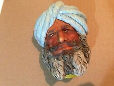Afghan Chalkware Head Wall Mask Hanging Bust Made in England F Wright Free Ship!