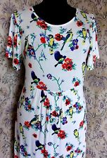 White & multi maxi dress by COTTON TRADERS Size 14 Floral & birds