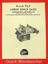 "Atlas 8"" Tilt Arbor Bench Saw 3020, 3030, 3040 Instruction & Parts Manual 0029"