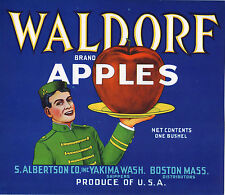 *Original* WALDORF Astoria Hotel Bellhop 1940's Apple Crate Label NOT A COPY!