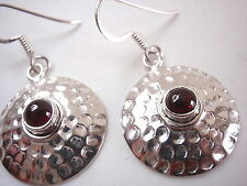 Natural Garnet Hammered Circle 925 Sterling Silver Dangle Earrings New round