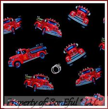BonEful Fabric FQ Cotton Quilt VTG Fire House Truck Fireman Hero Rescue 911 Red