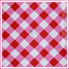 BonEful Fabric Cotton Quilt Gingham Red Pink White Check Stripe Baby Girl SCRAP