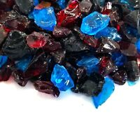 """Red Blue Black 1/2"""" - 1"""" Premium Large Fire Glass for Fireplace and Fire Pit"""