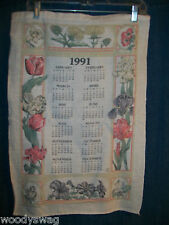Vintage Calendar 1991 Flowers soft pastel color Fabric Quilt Craft Free USA Ship