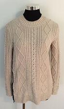 Banana Republic Mock Neck Cable Knit Beige Side Zip Sweater Women's Size S