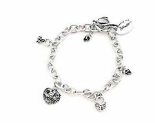 Key, Skull, Heart ~ Stainless Steel Ed Hardy Multi Charm Bracelet with