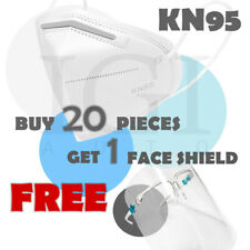 20pc KN95 Face Mask Cover Respirator 5 Layers BFE PFE 95% + FREE Face Shield