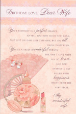 DEAR WIFE BIRTHDAY CARD,GLITTER,PERFUME THEME,LOVELY VERSE 9X6 INCH(R1).