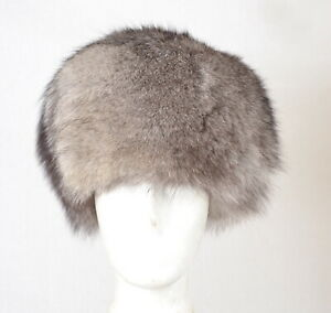 U60 AMAZING SILVER FOX FUR HAT CAP FOX WINTER HAT - SILBER FUCHS MÜTZE