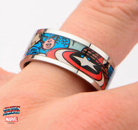 New in Box Licensed Captain America Graphics Printed Comics Stainless Steel Ring