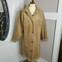 LL Bean Women's Shearling Tan Suede Sherpa Lining Trench Coat Size Medium
