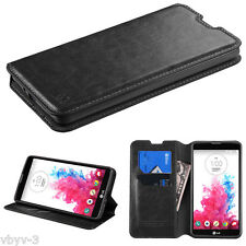 BLACK Leather Flip Wallet Hard Case Protective Cover Pouch For LG G Vista VS880