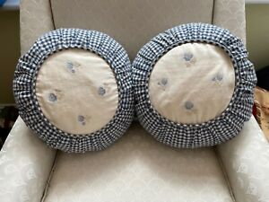 """Two round hotel quality blue white check floral cushions & covers diameter 13.5"""""""