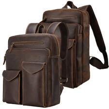Men Leather Holiday Backpack School Bag Travel Bag Daypack Book Bag TOTE Satchel
