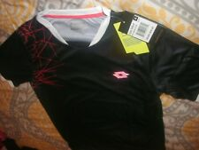 Lotto Boys Football Soccer Shirt Black Italian Sports Design Top Sz XL/XXL (B76)