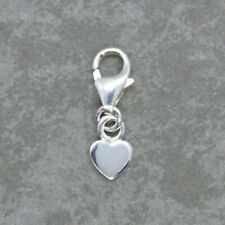 925 Sterling Silver Clip On mini HEART CHARM 4mm w/ lobster trigger clasp