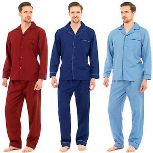 MENS TRADITIONAL PYJAMAS SET PLAIN PJ NIGHTWEAR LOUNGE WEAR TOP PANTS TROUSERS